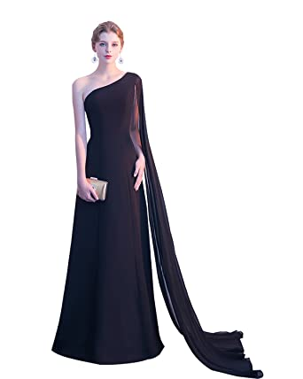 Erosebridal Womens One Shoulder Evening Formal Dress Watteau Train Banquet Prom Dress Gowns Black US2
