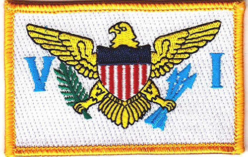 US VIRGIN ISLANDS FLAG w/GOLD BORDER-Iron On Embroidered Applique Patch, Symbol