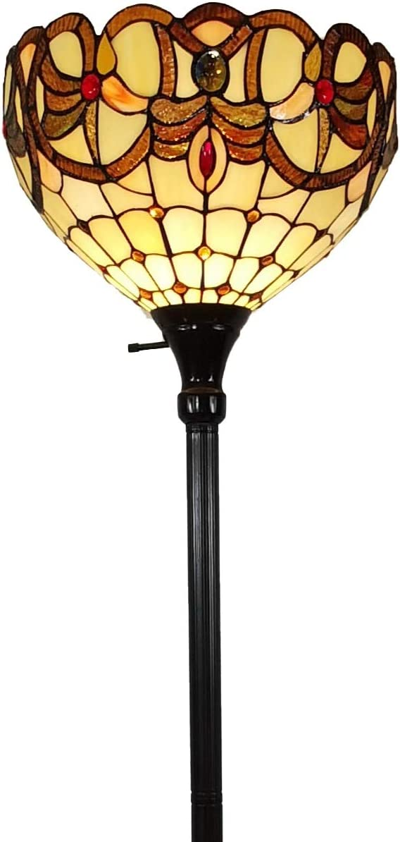 Amora Lighting Tiffany Style Floor Lamp Torchiere Standing 72 Tall Stained Glass Brown Red Tan Antique Vintage Light Decor Bedroom Living Room Reading Gift AM279FL14B, Multicolor