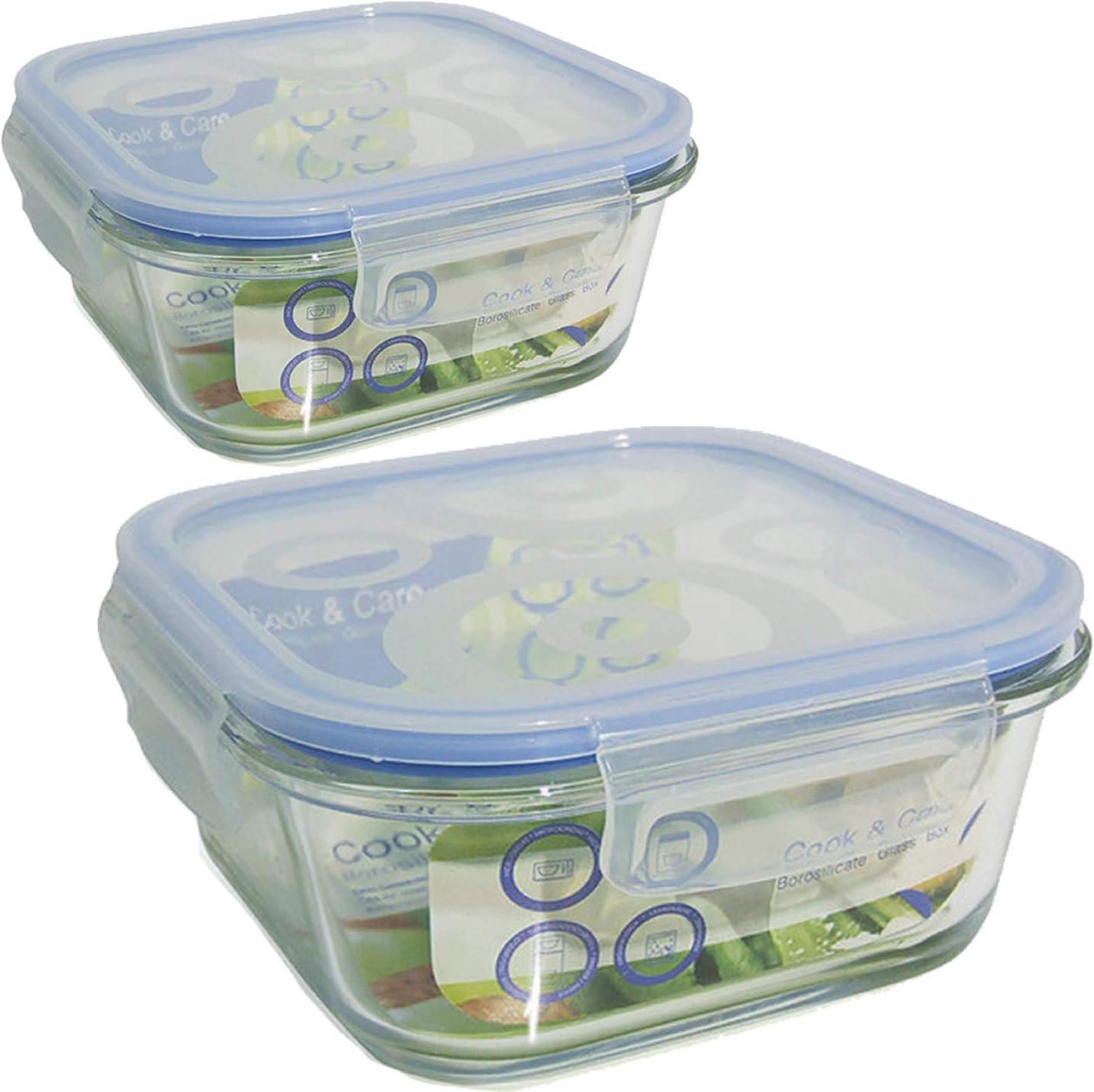 Bittamina Set de 2 Tuppers de Cristal Cuadrados de 800 ml y 300 ml.: Amazon.es: Hogar