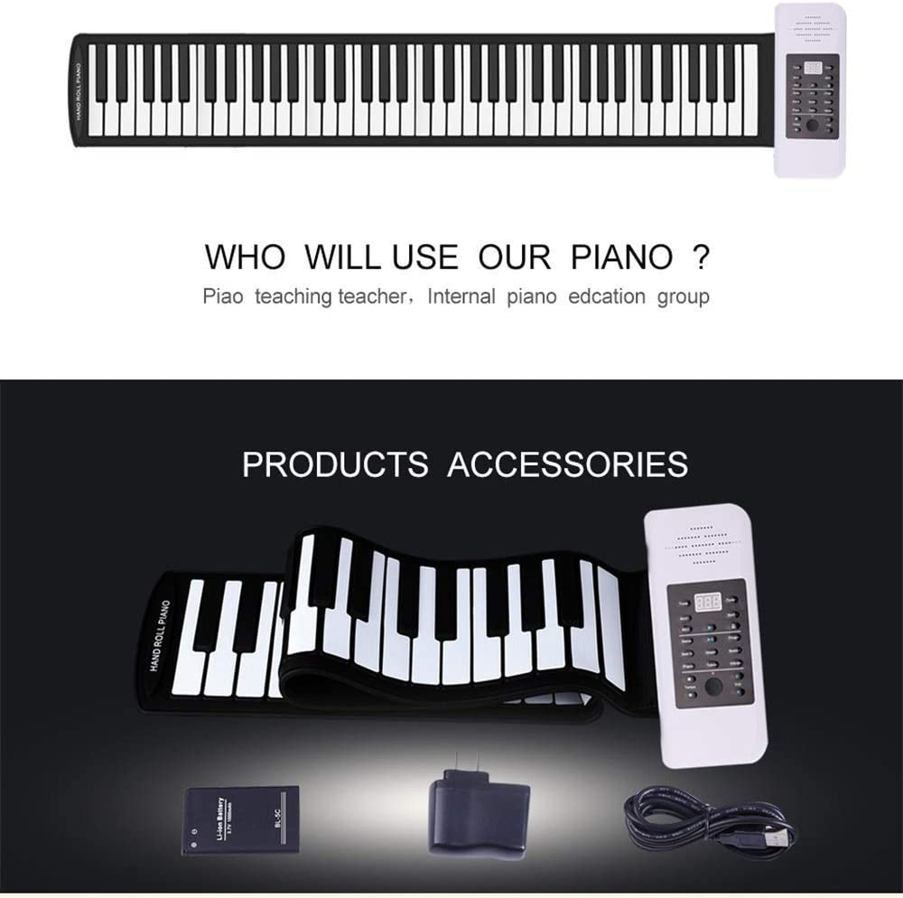 Portable 88 Key Professional Thickening Keyboard Keyboard Adult Electric Piano for Beginner and Children Hand Roll Piano