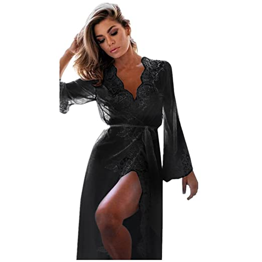 162e8bf3db3 Amazon.com  Ghazzi Sexy Lingerie for Women for Sex Women s Lingerie Lace  Kimono Robe Babydoll Sheer Lace up Nightgown  Clothing