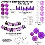 Birthday Party Decorations Kit - Chic Purple Birthday Decoration Set For Adults - Kids - Women - Men - Baby Boy & Girl - Hanging Wall Happy Birthday Banner - Pom Pom - Garland - First 1st 30th 40th 21
