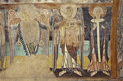 Polyster Canvas ,the Amazing Art Decorative Prints On Canvas Of Oil Painting 'Anonymous 12 Century Two Angels And A Holy Archbishop. The Hermitage Of The Vera Cruz De Maderuelo ', 18 X 27 Inch / 46 X 69 Cm Is Best For Living Room Decor And Home Decor And Gifts