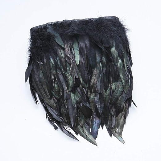 2 Yards WELROG Pluma de gallo Hackle/Recorte de flecos 12-17 cm de ancho Manualidades de costura