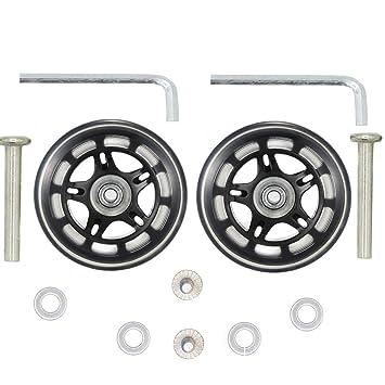 1 par de ruedas de repuesto para maleta de 70 x 22 mm con rodamientos de 8 mm y juego de reparación de ejes de 40 mm: Amazon.es: Bricolaje y herramientas
