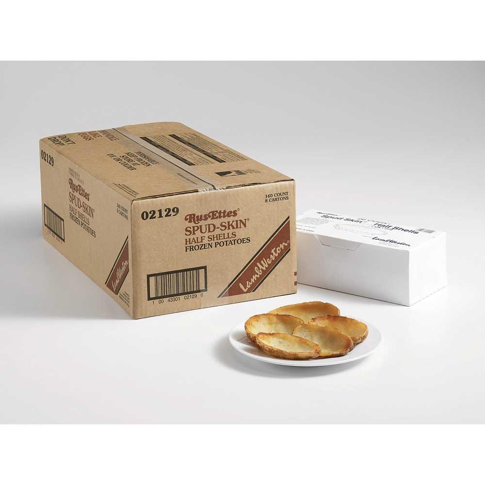 Lamb Weston Natural Rus Ettes Spud - Skin Idaho Baked Shell Potato Fry - 160 per case.