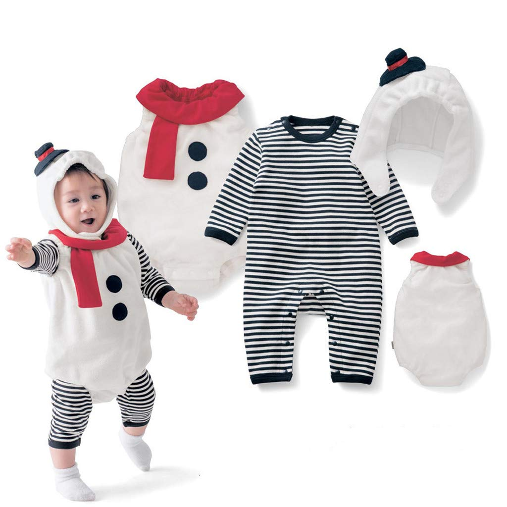 Zlolia Infant Baby Boys Girls Striped Pants Long Sleeve Jumpsuit + Solid Color Vest + Hat Christmas Snowman Costume Set White by Zlolia-Christmas