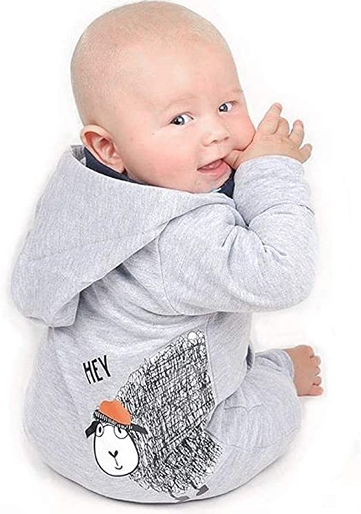 Hot Sale 0-18 Months Newborn Infant Baby Boys Girls Romper Cartoon Letter Print Button Jumpsuit Pajamas Outfits