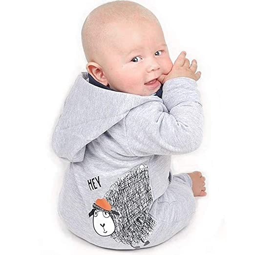 2ea9f127e8efe Amazon.com  GoodLock Baby Boys Girls Fashion Rompers Infant Newborn Cartoon  Sheep Hooded Romper Jumpsuit Outfits  Clothing