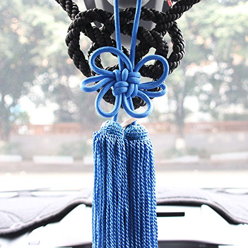 1Set Lucky Chinese Auspicious JP Black Kin Rope Kiku Knot For Car Rearview Mirror Charms Ornaments (Black&Blue)