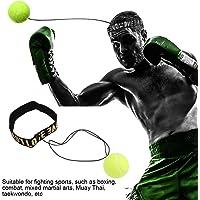 Boxing Reflex Ball Fight Ball Boxing Ball Diadema con Bola de perforación para Entrenamiento Mano Coordinación de Ojos Fitness Boxeo (Estilo de Letra Amarillo)