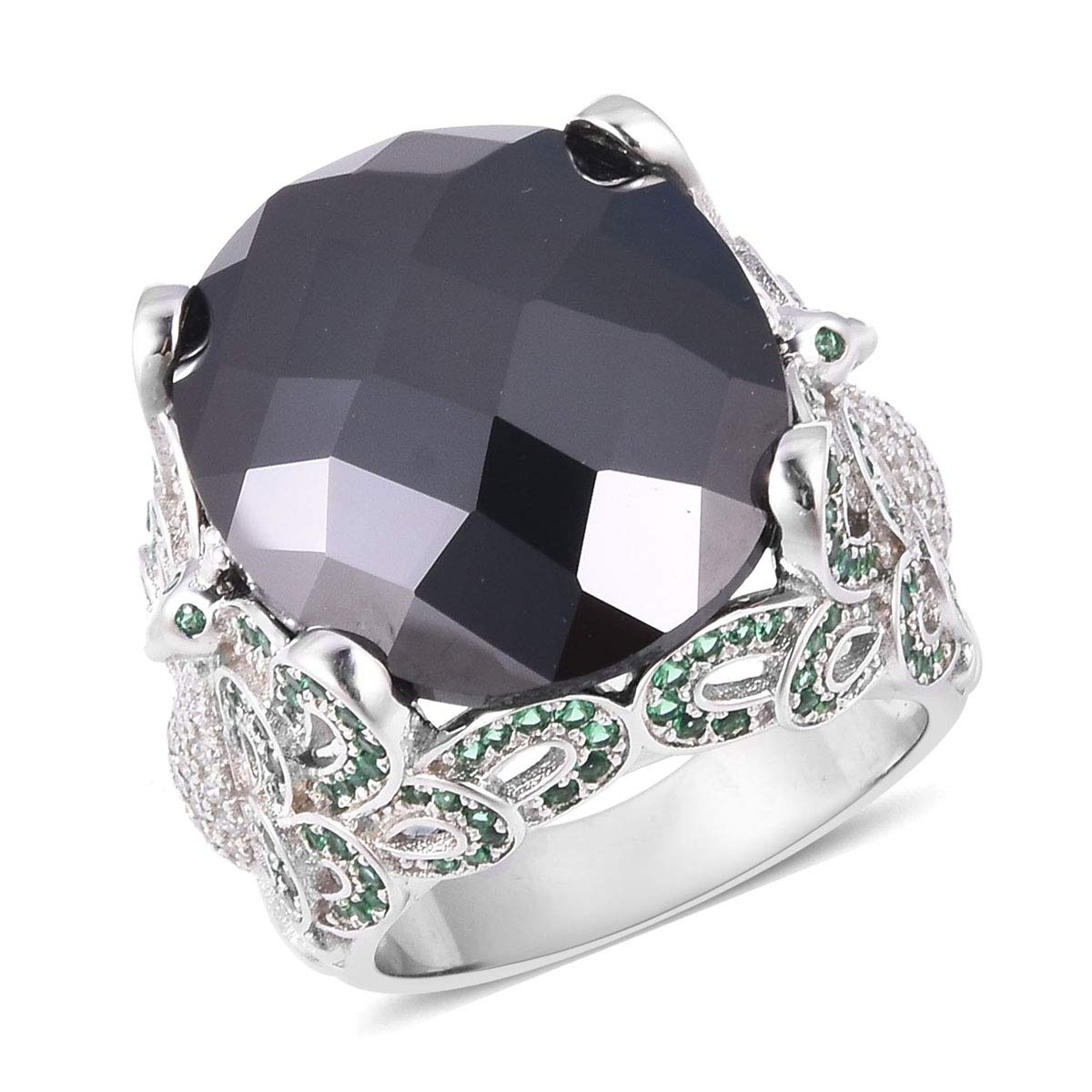 Shop LC Delivering Joy Statement Ring Black Cubic Zirconia CZ Green Cubic Zirconia CZ Jewelry for Women Size 7