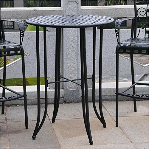 Pemberly Row Iron Antique All-Weather 40 Bar-Height Outdoor Patio Table, Black