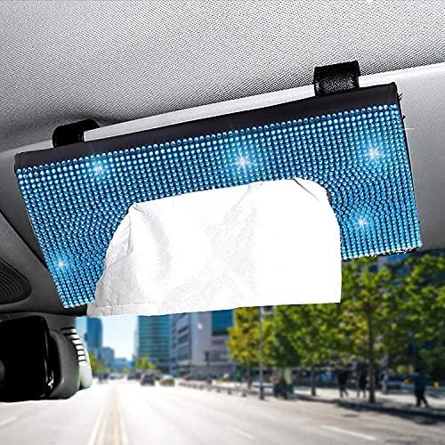 Bling Auto Sun Visor Napkin Holder, Sparking Crystal Diamond Leather Paper Towel Cover Case Hanging Car Visor Tissue Holder Car Accessories Universal Fit