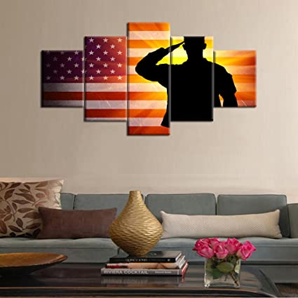 Pictures For Living Room Canvas Vintage American USA Flag Wall Art Wooden  Modern Painting Independence Day