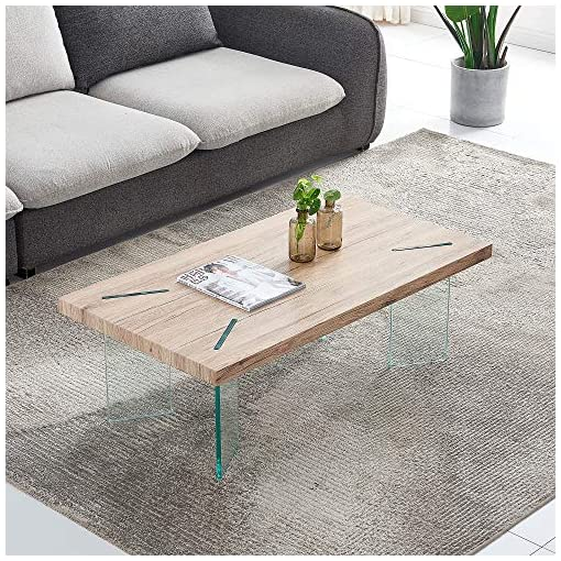 Living Room Coffee Table for Living Room, Modern Glass Table MDF Table top Coffee Table, Wood and Glass Leg Cocktail Table for… modern coffee tables