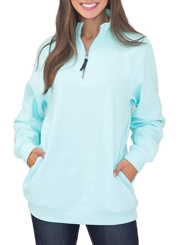 Dearlove Women's Long Sleeve 1/4 Zip Fleece Pullover Sweatshirts Pocket Outwear DL251517