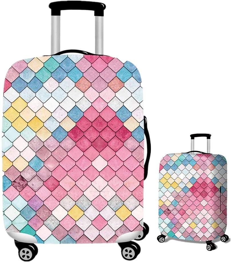 M, Mermaid TopZK Travel Luggage Covers Suitcase Protector Spandex Suitcase Protector Fits 18-32 Inch Luggage case
