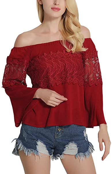 Sawadikaa Mujer Camisetas de Manga Larga Tapas Blusas Flojas Blusa del Hombro Fuera de Las Rojo