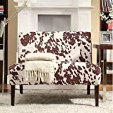 INSPIRE Q Wicker Faux Brown Cow Hide Fabric 2-seater Accent Loveseat Sofa Contemporary Settee for a Stylish Living Room with Solid Wood Legs