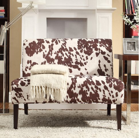 Inspire Q Wicker Faux Brown Cow Hide Fabric 2 Seater