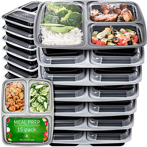 Meal Prep Containers 3 Compartment (15 Pack