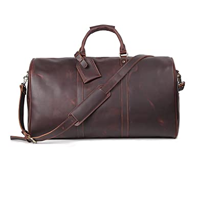 Amazon.com | Leather Travel Luggage Bag, LeatherFocus Mens Duffle ...