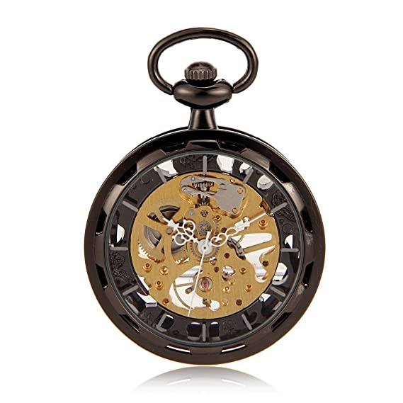 Open Face Black Skeleton Steampunk Hand Wind Mens Pocket Watch W/Chain Luxury Timepiece Reloj