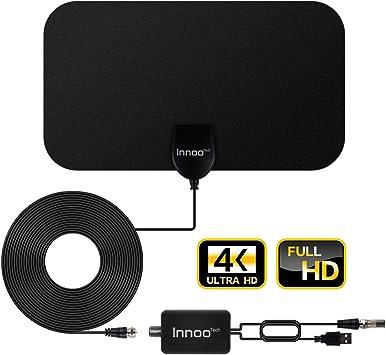 Innoo Tech - Antena de TV para interiores (amplificada, HD, alcance de hasta 30 a 100 millas,