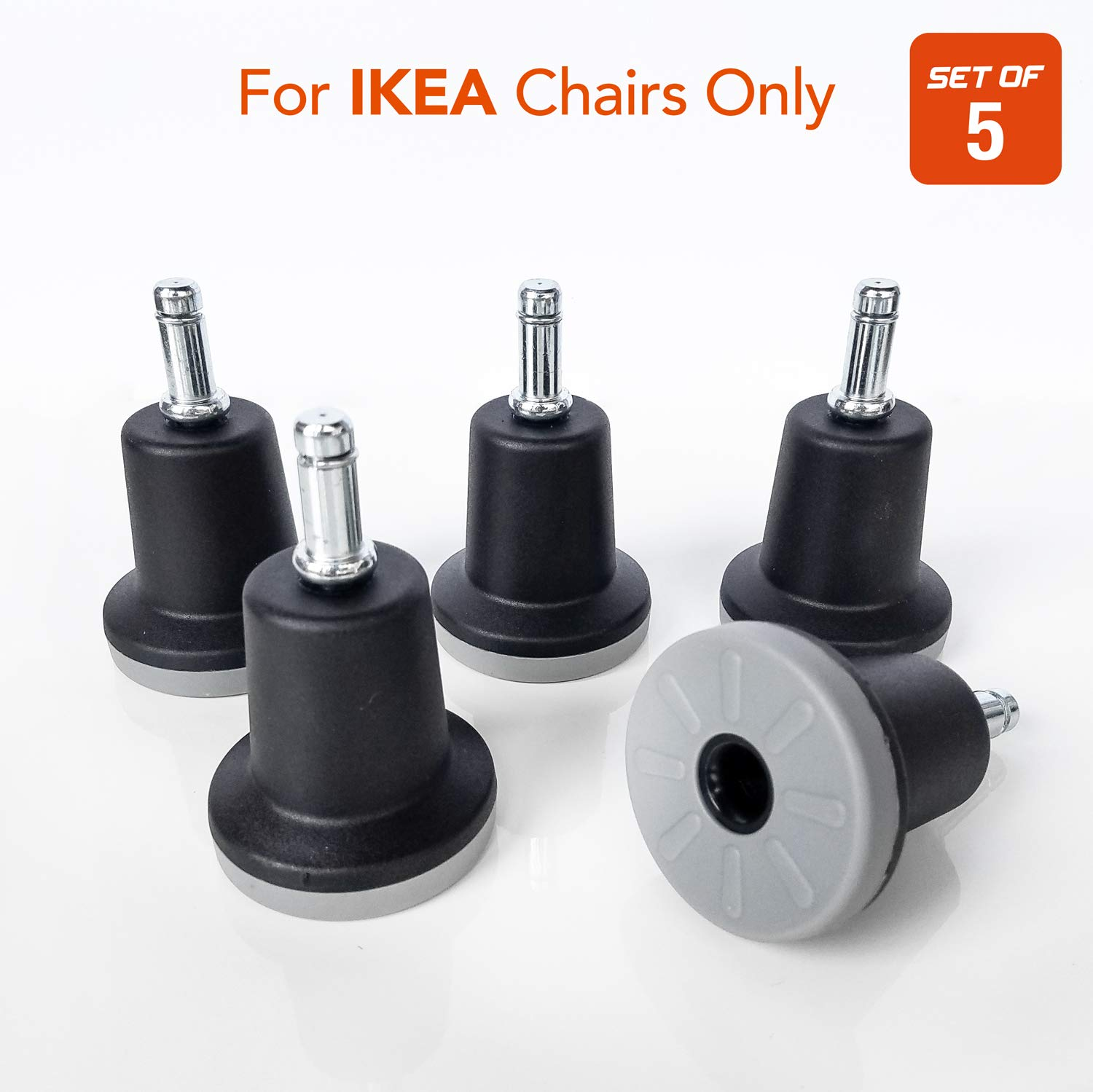 Bell Glides Office Chair Wheels Replacement Compatible with (IKEA Office Chairs Only), 10mm Diameter Size Stem, Chair Casters Replacement (Polyurethane Bottom - High Profile)