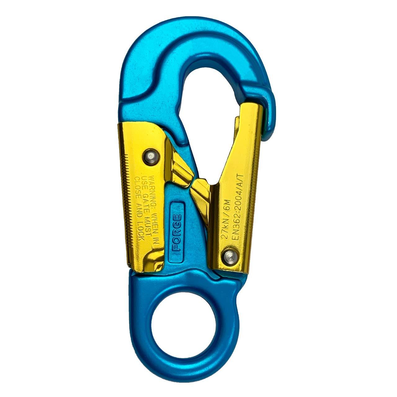 ProClimb Forged Aluminum Snaphook - Double Action Self Locking Gate, Captive Eye 27 kN - Blue by ProClimb