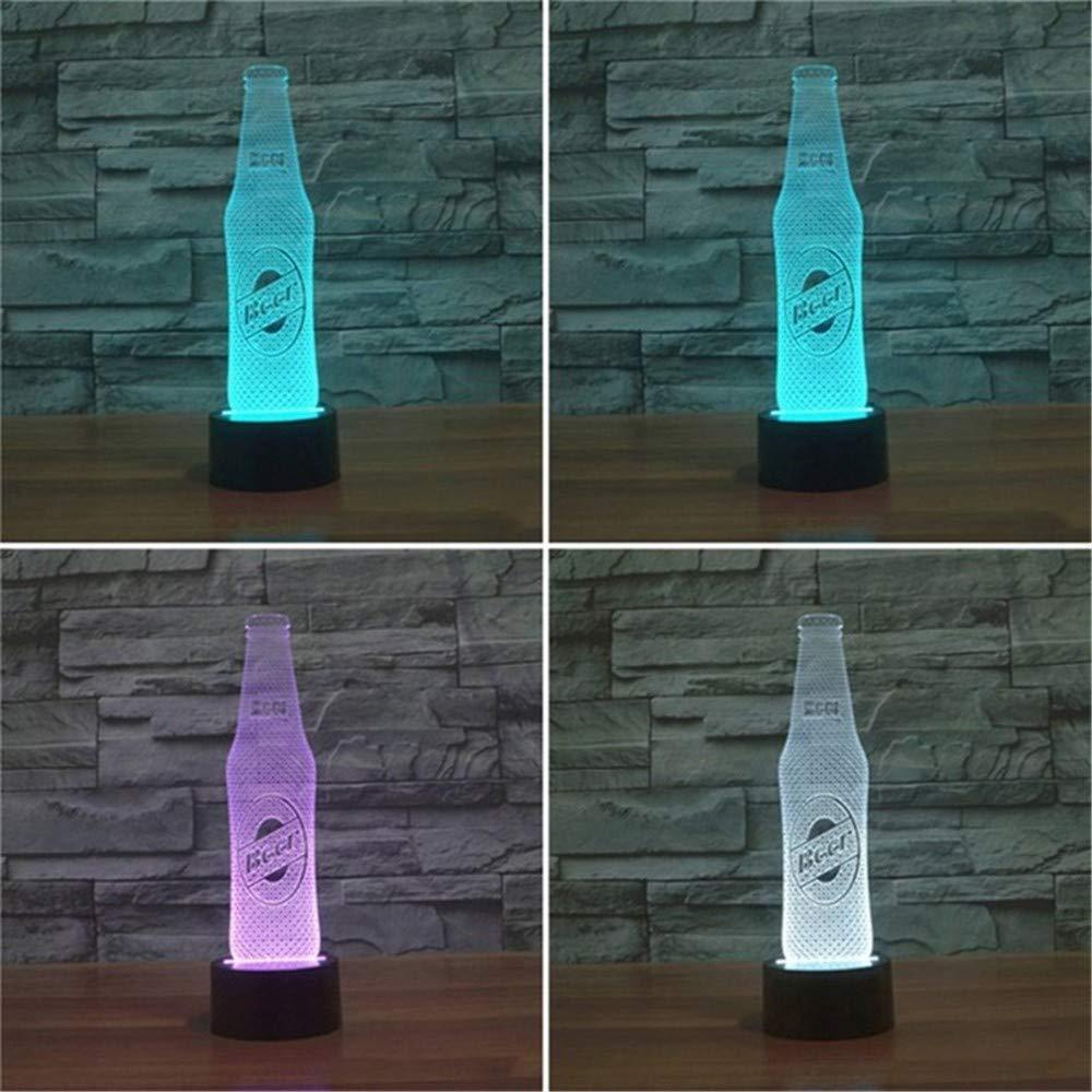 USB-Kabel   Bierflasche 3d helles buntes geführtes Sichtlicht-Geschenk-Atmosphäre-Tischlampe