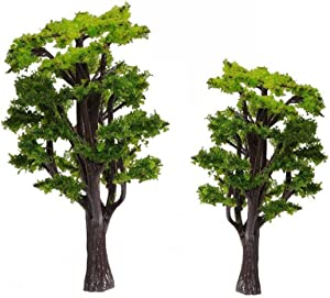 WINOMO 12pcs Model Trees Train Railways Architecture Landscape Scenery Scale 1:50 (Green)