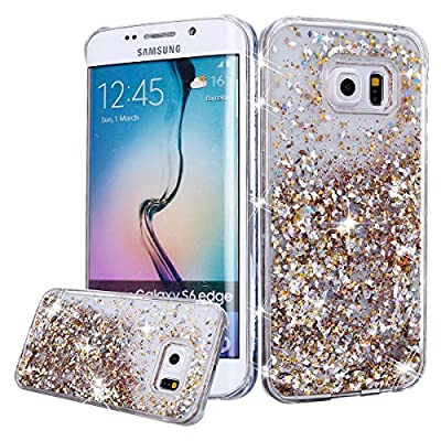 Urberry Galaxy S7 Edge Case, Gold S7 Edge Glitter Liquid Cover, Flowing Liquid Floating Luxury Bling Glitter Sparkle Hard Case for Samsung Galaxy S7 Edge with a Free Screen Protector from Urberry