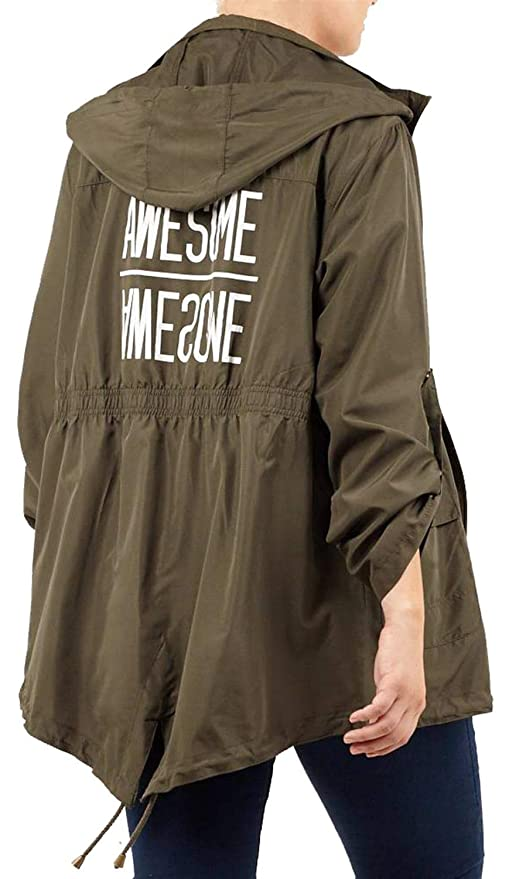 d66a7260d7f73 Click Selfie New Womens Turn Up Sleeve Back Printed Light Weight Hooded Mac  Showerproof Raincoat Jackets 8-24  Amazon.co.uk  Clothing