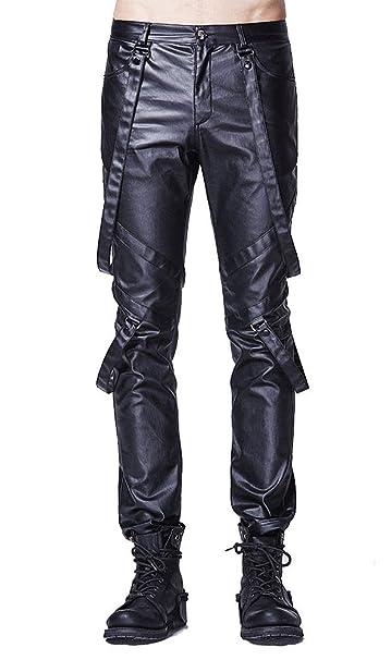 Noir Cuir Gothique Rock Faux Pantalon Punk Sangles Homme Rave Avec WEID2YH9