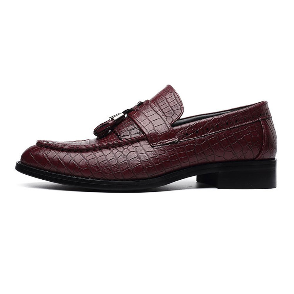 Snake Skin Texture Upper Loafers Slip-on Breathable Low Top Lined Oxfords Shoes for Men M US Color : Brown, Size : 6.5 D YJiaJu PU Leather Shoes
