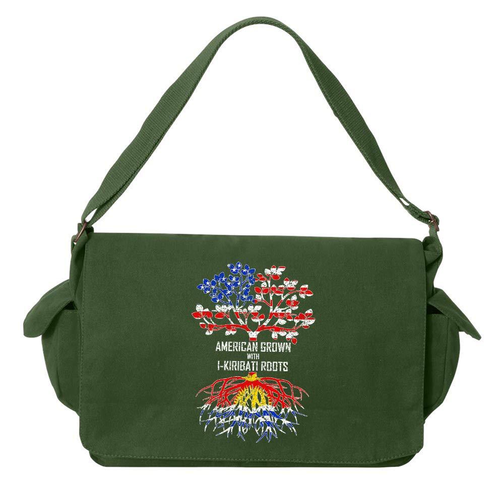 Tenacitee American Grown with I-Kiribati Roots Flamingo Raw Edge Canvas Messenger Bag