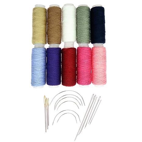 IPOTCH 10 Piezas Hilo de Cera Costura Artesanías Reparación Ropa + 14 Piezas Alfileres Bordados Pernos