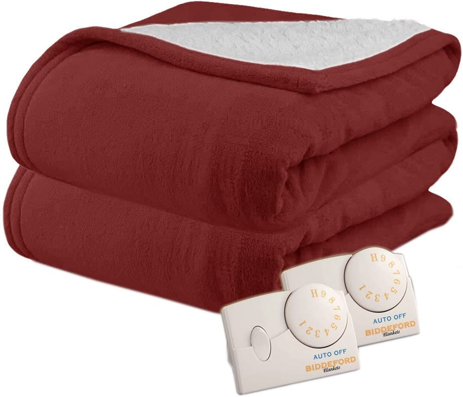 Biddeford 2064-9032138-302 MicroPlush Sherpa Electric Heated Blanket King Claret