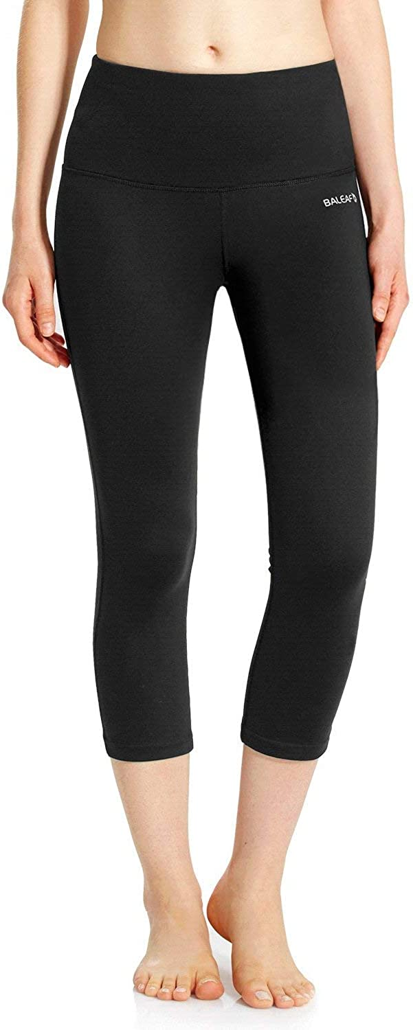 "BALEAF Women's 20"" / 28"" High Waisted Yoga Leggings Workout Capri Tummy Control Pants with Pocket(Plus Size/Regular)"