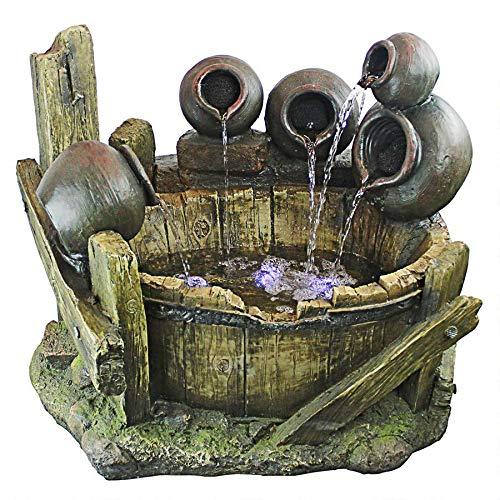 Cascading Urns - Design Toscano QN1638 Urns and Barrel Cascading Waterfall Illuminated Garden Fountain, Full Color