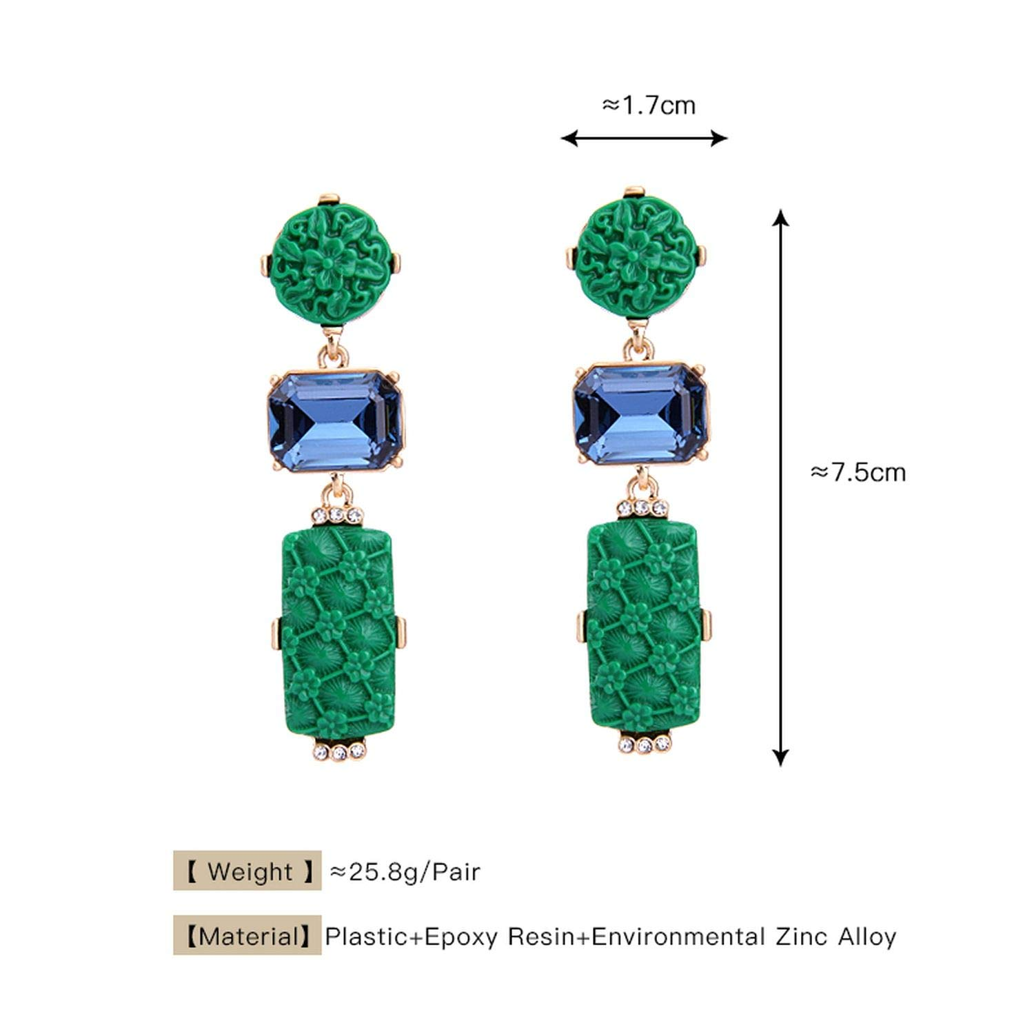Jewelry Green Red Statement Earring Piercing Engraved Earring Fashion Jewelry