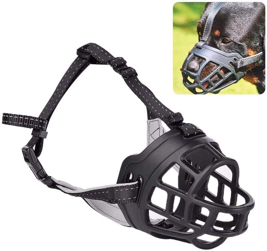 6 Tamaño de silicona suave para mascotas Evitar morder Ladrido de perro Bozal de seguridad Ajustable Máscara de boca para perro Ventilada Cubierta de corteza para mordedura de mascota-Negro, 2
