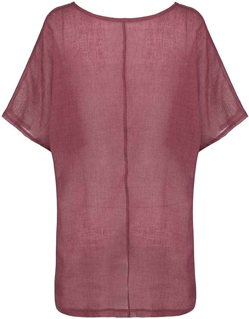 F/_Gotal Shirts for Women Short Sleeve Cotton Linen O-Neck Loose Casual Tunic Blouse Tops Womens Summer Tops Plus Size