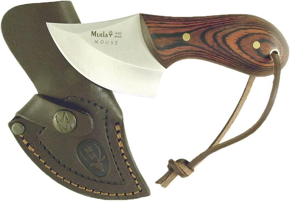 Muela MOUSE-6R Pakkawood Slab Scale Handle Skinner Knife with Leather Sheath