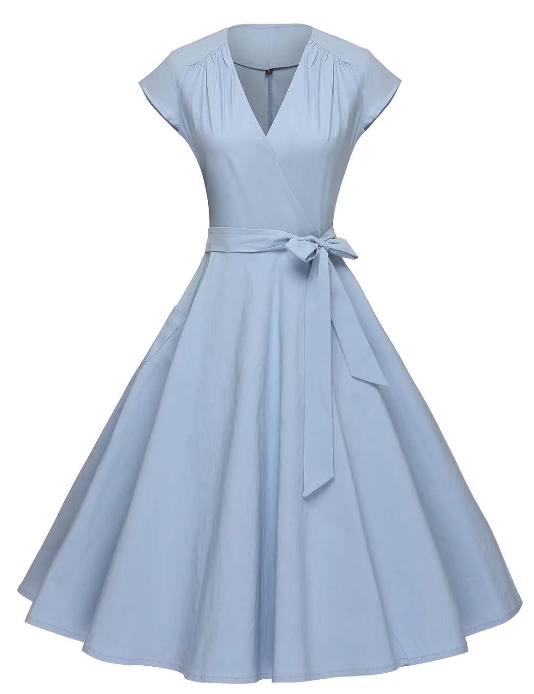GownTown Women Vintage 1950s Retro Rockabilly Prom Dresses Cap ...