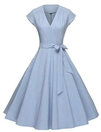 GownTown Women Vintage 1950s Retro Rockabilly Prom Dresses Cap-sleeve,Light Blue,Small