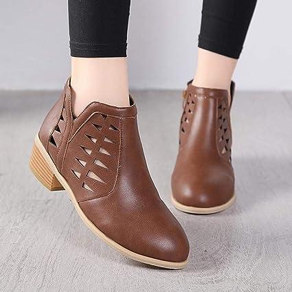 Logobeing Botines Mujer Tacon Invierno Planos Tacon Ancho Piel Botas de Mujer Medio Zapatos Combat Casual Planas Zapatos de Plataforma-5818(35,Café): ...